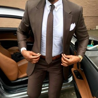 How to wear: brown suit, white dress shirt, brown polka dot tie, white pocket square