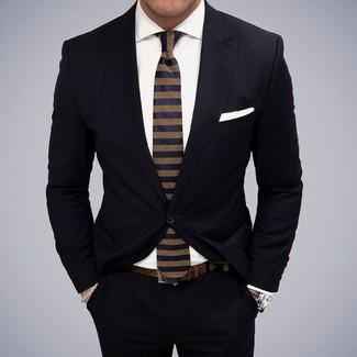 Men's Black Suit, White Dress Shirt, Navy Horizontal Striped Tie, White Pocket Square