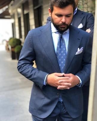 How to wear: navy suit, light blue gingham dress shirt, blue polka dot tie, white pocket square