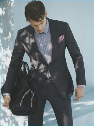How to wear: black suit, grey print dress shirt, black leather tote bag, pink pocket square