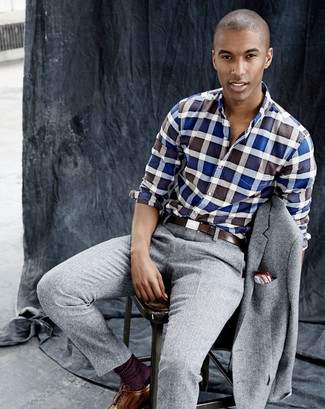 How to wear: grey wool suit, blue gingham long sleeve shirt, brown leather brogues, dark brown leather belt