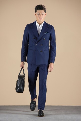 How to wear: navy suit, white long sleeve shirt, black leather loafers, black leather briefcase