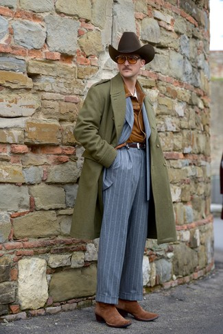 How to wear: white crew-neck t-shirt, grey vertical striped suit, tobacco suede shirt jacket, olive overcoat