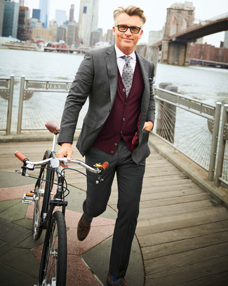 How to wear: grey suit, burgundy sweater vest, white dress shirt, dark brown suede tassel loafers