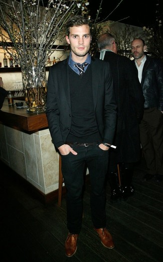 Jamie Dornan wearing Black Suit, Black V-neck Sweater, Navy Plaid Dress Shirt, Brown Leather Brogues