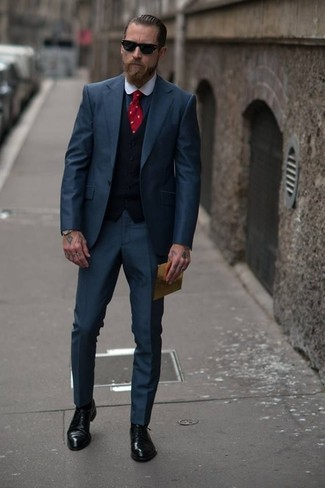 Justin O'Shea wearing Navy Suit, Black Waistcoat, Charcoal Dress Shirt, Black Leather Derby Shoes