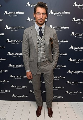 David Gandy wearing Grey Wool Suit, Grey Plaid Waistcoat, Grey Dress Shirt, Dark Brown Leather Double Monks