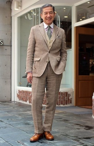 How to wear: brown wool suit, tan wool waistcoat, pink vertical striped dress shirt, tan leather derby shoes