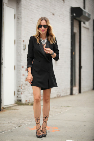 How to wear: silver necklace, black sunglasses, black leather pumps, black tuxedo dress