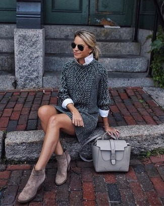 How to wear: charcoal knit sweater dress, white dress shirt, brown suede ankle boots, grey leather satchel bag