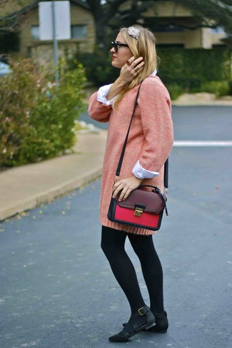 Women's Pink Sweater Dress, White Dress Shirt, Black Nubuck Ballerina Shoes, Burgundy Leather Satchel Bag