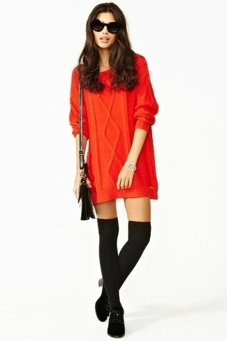 Women's Red Knit Sweater Dress, Black Suede Lace-up Ankle Boots, Black Knee High Socks, Black Leather Crossbody Bag