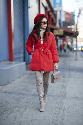 How to wear: grey suede over the knee boots, white sweater dress, grey knit turtleneck, red puffer coat