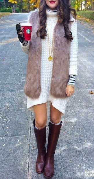 How to Wear Burgundy Leather Knee High Boots: A brown fur vest and a white and black horizontal striped turtleneck have become an essential combo for many fashion-forward ladies. A trendy pair of burgundy leather knee high boots is an easy way to add a sense of sophistication to this getup.
