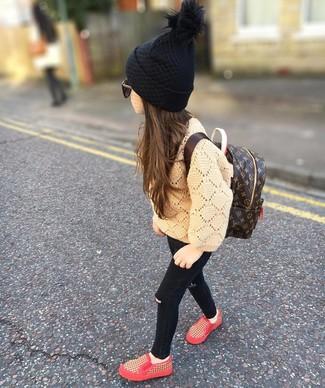 How to wear: tan sweater, black jeans, red sneakers, dark brown backpack