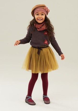 How to wear: dark brown sweater, yellow tulle skirt, dark brown ballet flats, mustard beret