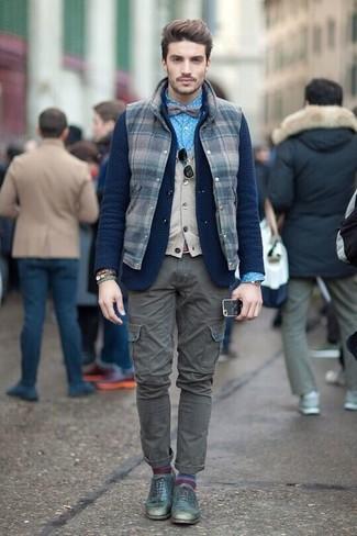 How to wear: blue polka dot dress shirt, beige sweater vest, navy knit wool blazer, navy check wool gilet