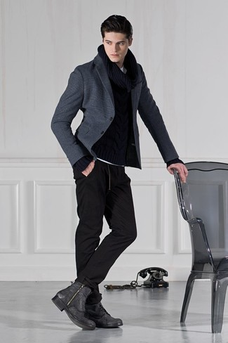 How to wear: charcoal leather casual boots, black sweatpants, black cable sweater, charcoal wool blazer