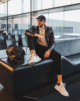 How to Wear Black No Show Socks For Men: For a surefire casual option, you can't go wrong with this pairing of a black leather biker jacket and black no show socks. Make a bit more effort with footwear and complete this ensemble with white and black leather low top sneakers.