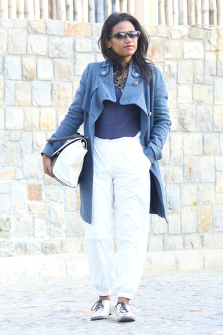 How to wear: silver leather oxford shoes, white sweatpants, navy crew-neck sweater, blue coat
