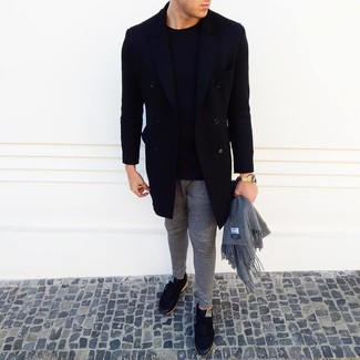 How to Wear Grey Sweatpants For Men: For an off-duty outfit, try teaming a black overcoat with grey sweatpants — these items fit really well together. And it's a wonder how a pair of black low top sneakers can shake up an outfit.