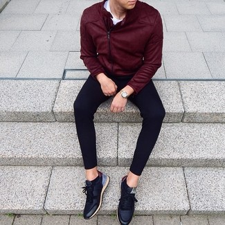 How to wear: black leather low top sneakers, black sweatpants, white crew-neck t-shirt, burgundy suede biker jacket
