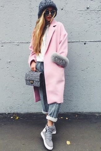 How to wear: grey suede high top sneakers, grey sweatpants, white crew-neck t-shirt, pink coat