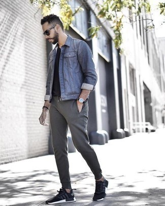 How to Wear Grey Sweatpants For Men: A blue denim jacket and grey sweatpants are the kind of a no-brainer off-duty getup that you need when you have no extra time. Here's how to dial down this outfit: black and white athletic shoes.