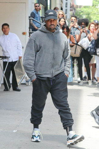 How to wear: multi colored athletic shoes, black sweatpants, black crew-neck t-shirt, grey hoodie
