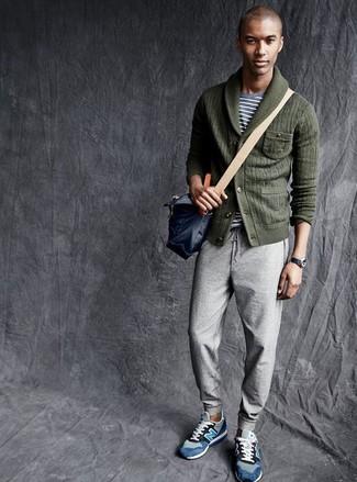 How to wear: blue suede low top sneakers, grey sweatpants, grey horizontal striped crew-neck t-shirt, dark green shawl cardigan