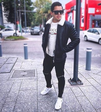How to wear: white athletic shoes, black sweatpants, white print crew-neck t-shirt, black shearling jacket