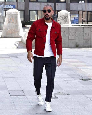 How to wear: white leather low top sneakers, navy sweatpants, white crew-neck t-shirt, red shirt jacket