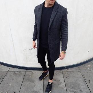 How to wear: black low top sneakers, black sweatpants, black long sleeve t-shirt, charcoal overcoat