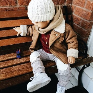 How to Wear Grey Sweatpants For Boys: This combo of a tan jacket and grey sweatpants has all the potential to become your boy's favorite. As for footwear your tot will love white sneakers for this getup.