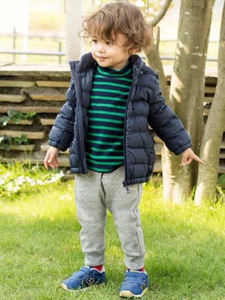 Boys' Blue Sneakers, Grey Sweatpants, Navy Horizontal Striped Sweater, Navy Puffer Jacket