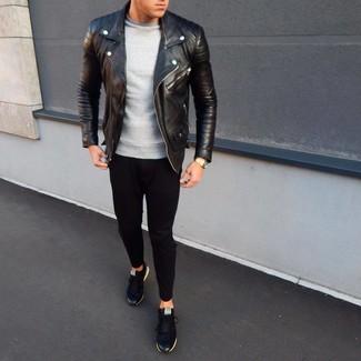 How to wear: black low top sneakers, black sweatpants, grey sweatshirt, black leather biker jacket