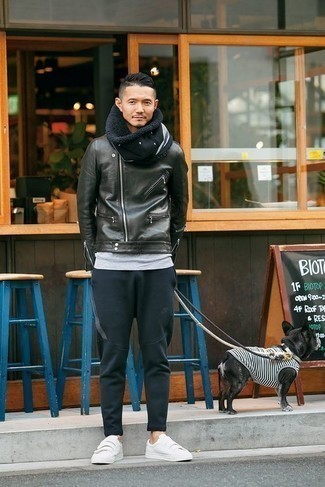 How to Wear a Black Scarf For Men: Opt for a black leather biker jacket and a black scarf to get a city casual and absolutely dapper look. To add elegance to your look, round off with white canvas low top sneakers.