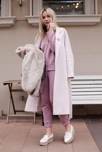 How to wear: white leather platform loafers, pink sweatpants, pink sweatshirt, pink coat