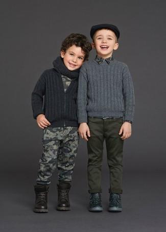 How to wear: dark brown boots, grey print sweatpants, grey print t-shirt, charcoal cardigan