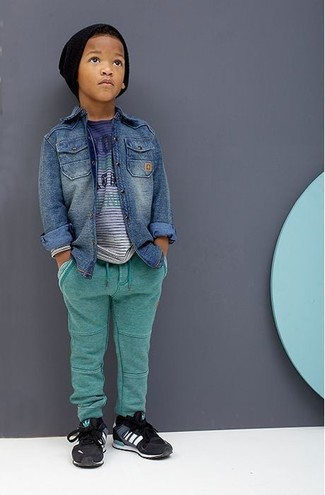 How to Wear Black Sneakers For Boys: For an everyday outfit that is full of character and personality suggest that your boy pair a blue denim long sleeve shirt with green sweatpants. As far as footwear is concerned, suggest that your little one throw in a pair of black sneakers.