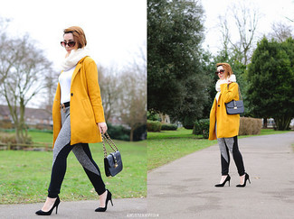 How to wear: black suede pumps, grey sweatpants, white turtleneck, mustard coat
