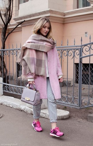 How to wear: grey sweatpants, white sweatshirt, pink coat, pink shawl