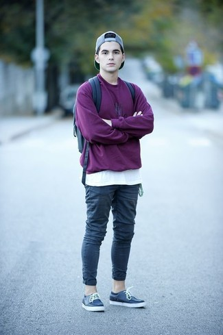 How to wear: purple sweatshirt, white crew-neck t-shirt, navy chinos, navy leather boat shoes