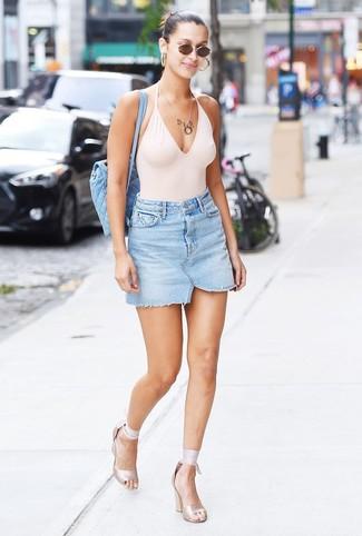 How to wear: white swimsuit, light blue denim mini skirt, beige elastic heeled sandals, light blue quilted backpack