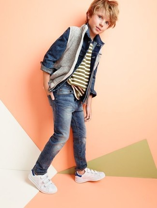 How to wear: navy jeans, olive horizontal striped t-shirt, navy denim jacket, grey gilet