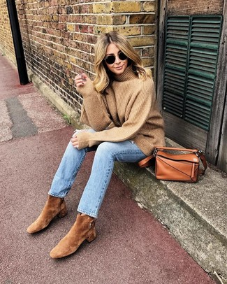 How to wear: tobacco leather crossbody bag, tan suede ankle boots, light blue jeans, tan wool turtleneck