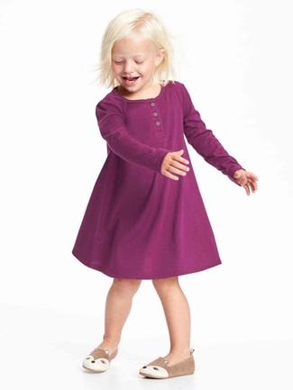 How to wear: tan ballet flats, purple dress
