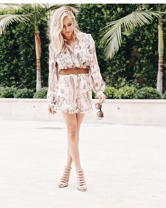 How to wear: dark brown sunglasses, tan leather belt, beige cutout leather ankle boots, beige print shirtdress