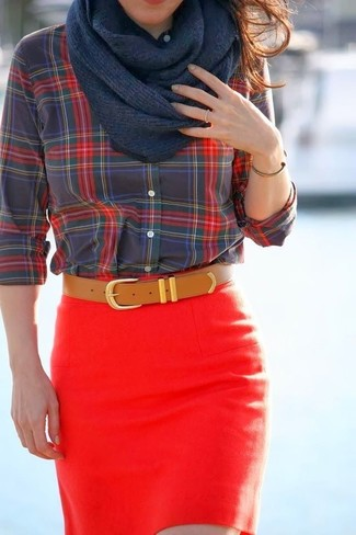 How to wear: navy scarf, tan leather belt, red mini skirt, red and black plaid button down blouse