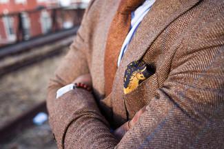 How to wear: tan herringbone wool blazer, light blue dress shirt, brown wool tie, yellow floral silk pocket square